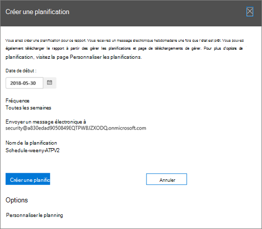 Vous pouvez utiliser les paramètres par défaut ou personnaliser une planification de rapport