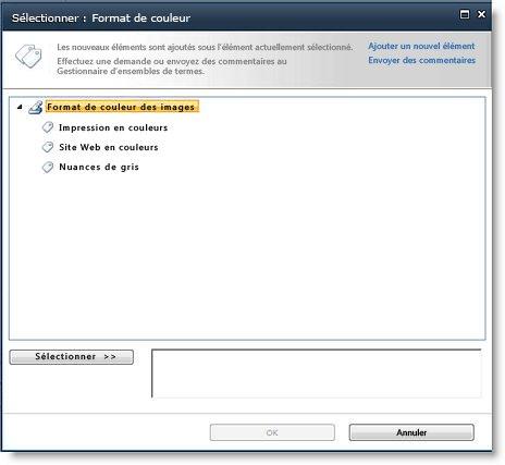 Vous pouvez sélectionner des termes gérés à partir d'un sélecteur de contrôles d'arborescence.