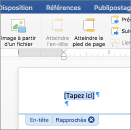 L'emplacement dans un en-tête ou un pied de page s'affiche à l'endroit où vous ajoutez une image.