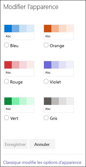 Capture d'écran montrant les options de couleur permettant de modifier l'apparence du site dans SharePoint.