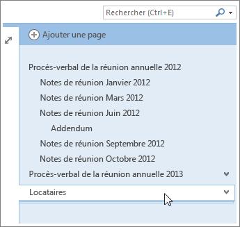 Il est possible de réduire ou de développer les pages comportant des sous-pages.