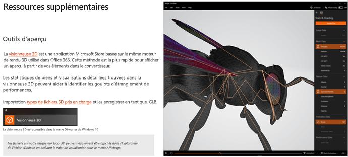 Capture d'écran de la section ressources supplémentaires des recommandations en matière de contenu 3D