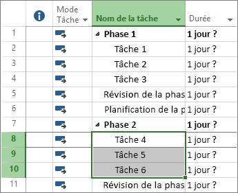 Capture d'écran de tâches mises en évidence dans un plan de projet.