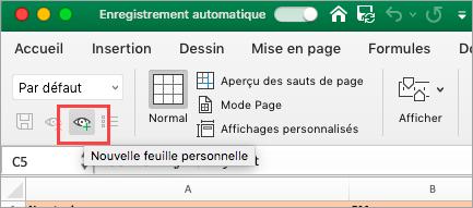 Affiche la feuille de calcul Excel
