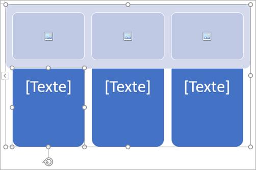 Graphique SmartArt avec espaces pour images