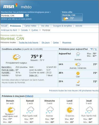 Page MSN illustrant les prévisions météo pour Montréal