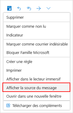 Sélection d'une fenêtre message source