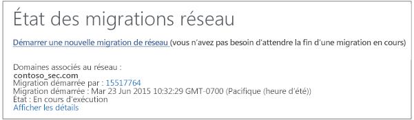Capture d'écran indiquant l'état des migrations réseau - La migration de réseau Yammer est en cours d'exécution.