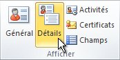 Groupe Afficher du ruban dans un contact Outlook