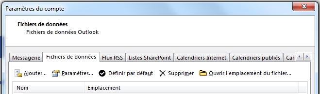 L'onglet Fichiers de données affiche tous vos comptes.