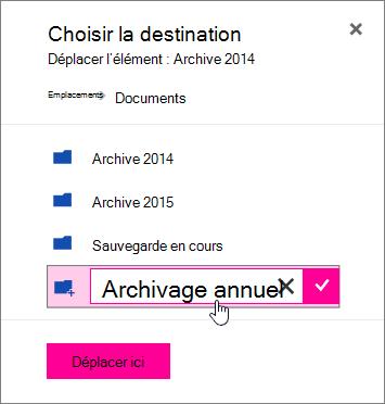 Déplacer le fichier vers la boîte de dialogue avec un nouveau nom de dossier entré