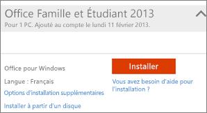 Capture d'écran de l'installation et lien pour les autres options d'installation