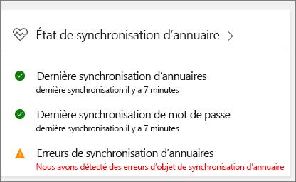 Vignette de l'état de l'outil de synchronisation Azure Active Directory dans la version préliminaire du centre d'administration
