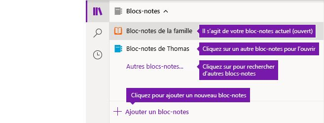 La liste des blocs-notes dans OneNote pour Windows 10