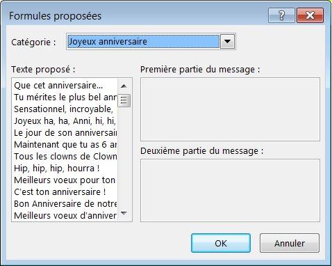 Formules proposées pour les cartes de vœux dans Publisher2013
