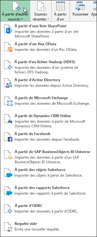 Sources de données Power Query
