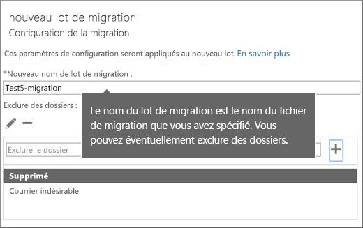 Boîte de dialogue Configuration de la migration