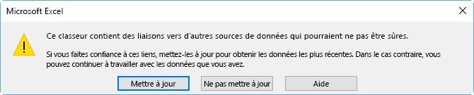 Boîte de dialogue signalant des liens rompus dans Excel