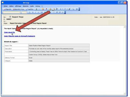 Lorsque Duet livre un rapport, il envoie un courrier électronique de notification.