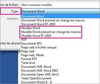 Enregistrer un document en tant que modèle