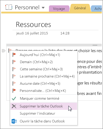 Capture d'écran de la suppression d'une tâche Outlook dans OneNote 2016