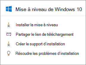 Carte de mise à niveau de 10 Windows dans le centre d'administration.