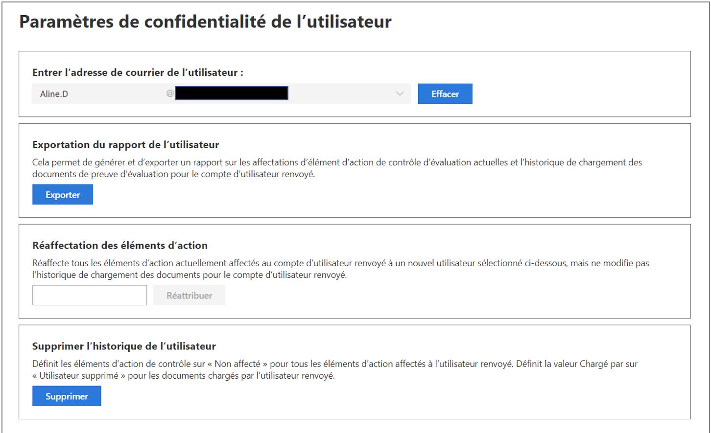 Administration du Gestionnaire de conformité - Paramètres de confidentialité de l'utilisateur