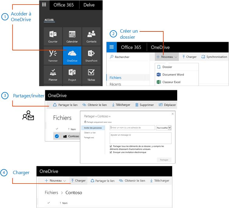 Dans OneDrive, créez un dossier, puis partagez-le