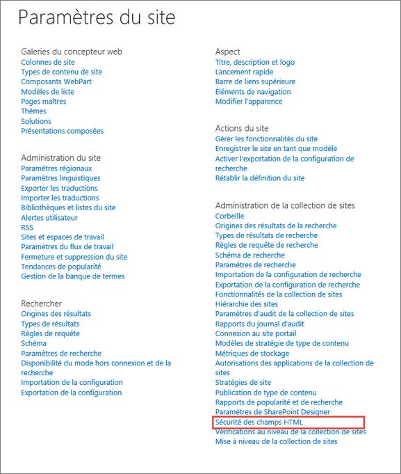 Sécurité de champ HTML sur la page Paramètres du Site