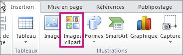 Insérer une image clipart dans Office2010