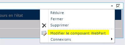 Commande Modifier le composant WebPart dans le menu WebPart
