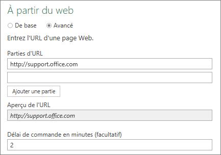 À partir de la boîte de dialogue Web, zone Délai de commande en minutes