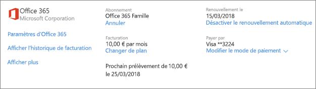 La page Services et abonnements, affichant les détails de l'abonnement pour un abonnement Office 365 famille.