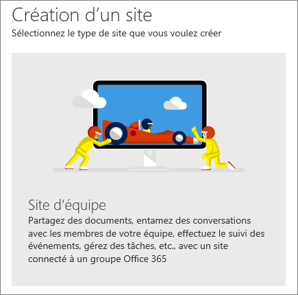 SharePoint - Office 365 - Créer un site