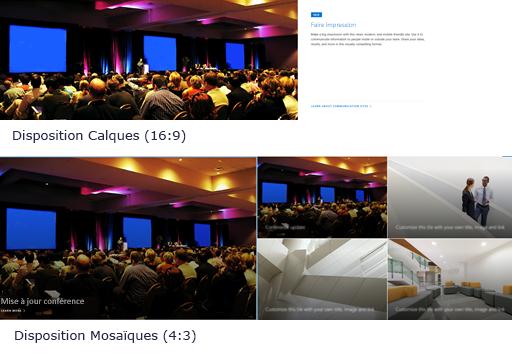 Exemple d'images de composants WebPart héros en dispositions de calques et de vignettes