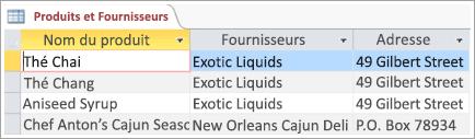 Extrait de données de tables Produits et Fournisseurs