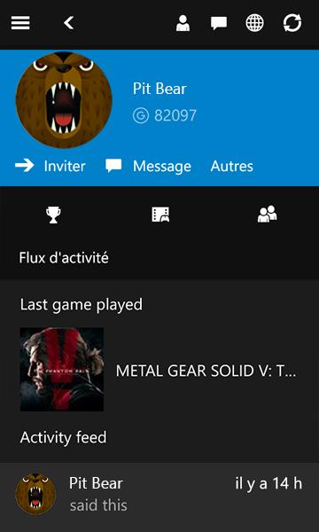 ProfilGamertag dans Xbox