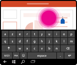Mouvement de placement du curseur dans PowerPoint pour Windows Mobile