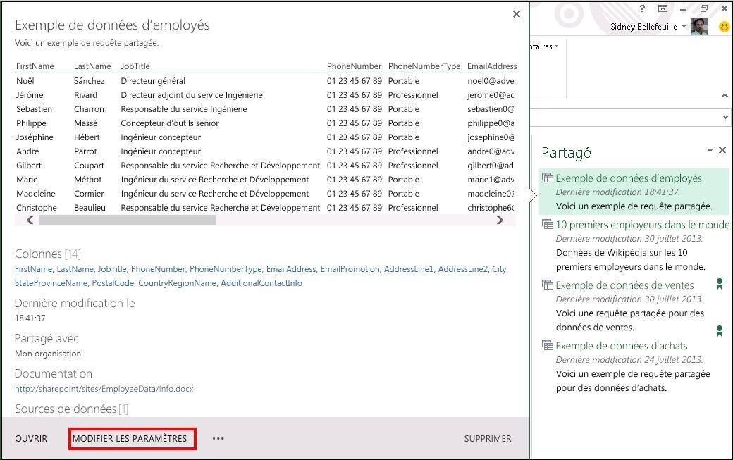 Modifier les métadonnées d'une requête partagée