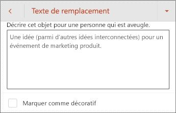Boîte de dialogue texte de remplacement d'une forme dans PowerPoint pour Android.