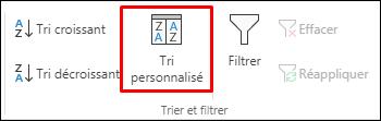 Option de tri personnalisé d'Excel à partir de l'onglet Données