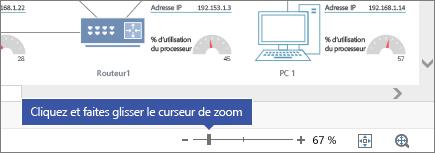 Curseur de zoom dans le coin inférieur droit avec les boutons - et +, 67%