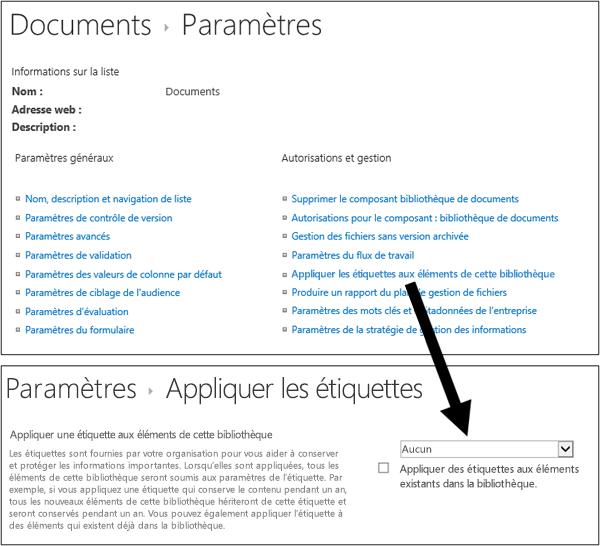 Option Appliquer l'étiquette dans la page Paramètres de la bibliothèque