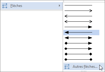 Clic sur Autres flèches pour personnaliser un trait ou une flèche