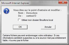 Message d'extraction de fichier SharePoint