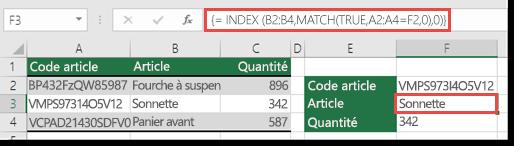 Utilisez les fonctions INDEX et EQUIV pour rechercher les valeurs de plus de 255 caractères.