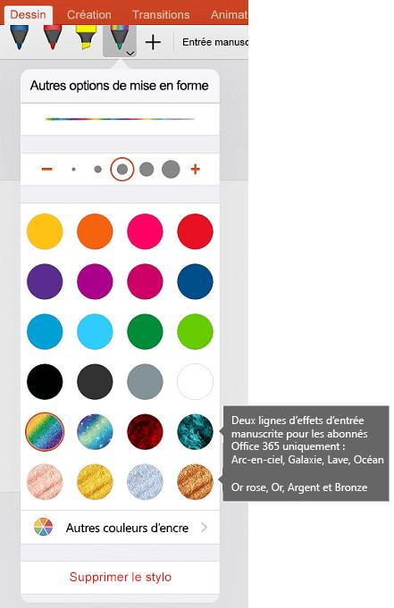 Couleurs et effets d'entrée manuscrite pour le dessin avec des entrées manuscrites dans Office sur iOS