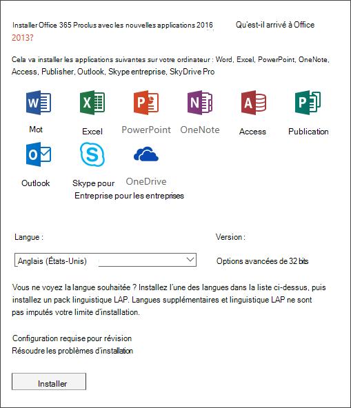 Si un choix vous est présenté, sélectionnez la version d'Office que vous voulez installer, sélectionnez une langue, puis sélectionnez Installer.
