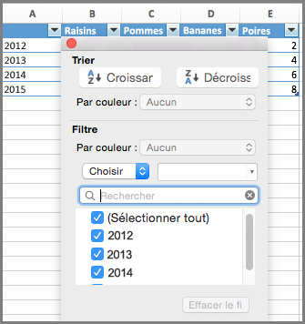Filtrer des données dans un graphique dans Excel pour Mac