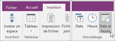 Capture d'écran du bouton Date et heure dans OneNote2016